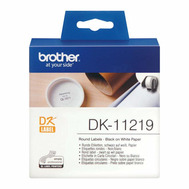 Brother rola DK-11219, bijela rola s crnim ispisom, promjer 12 mm, 1200 naljepnica, Original [DK11219]