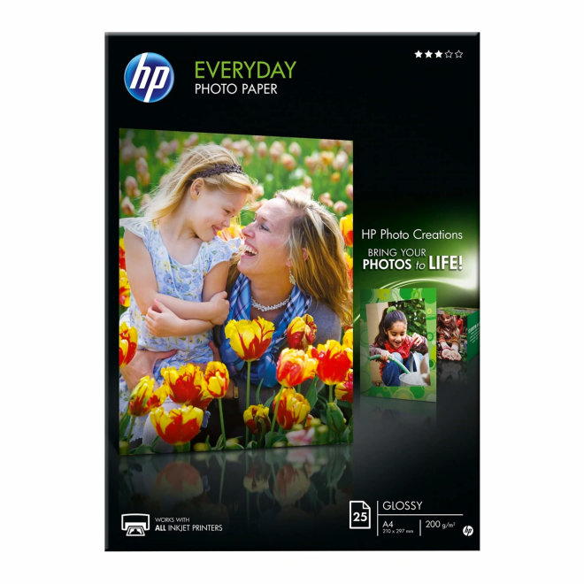 HP Everyday Glossy Photo Papir, A4 format, 25 listova, 200 g/m², Original [Q5451A]