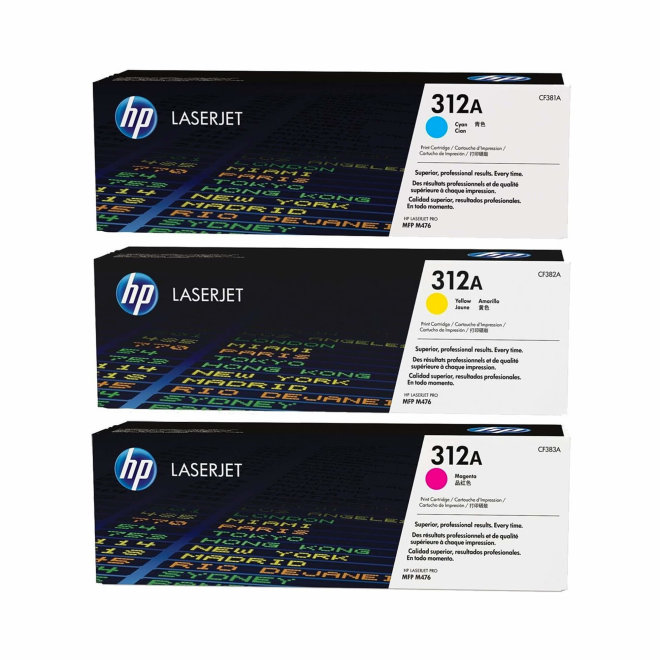 HP 312A 3-pack Cyan/Magenta/Yellow Original LaserJet Toner Cartridges [CF440AM]