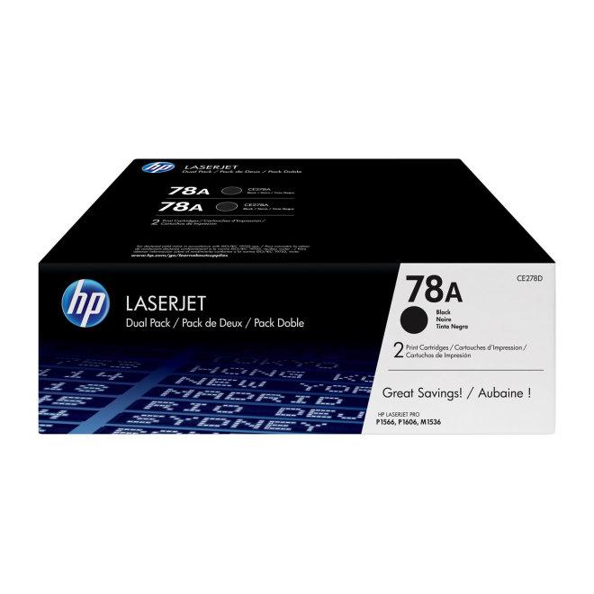 HP 78A 2-pack Black Original LaserJet Toner Cartridges [CE278AD]