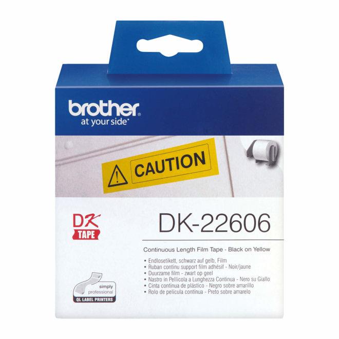 Brother naljepnice DK-22606, žuta rola s crnim ispisom, širina 62 mm, dužina 15,24 m, Original [DK22606]