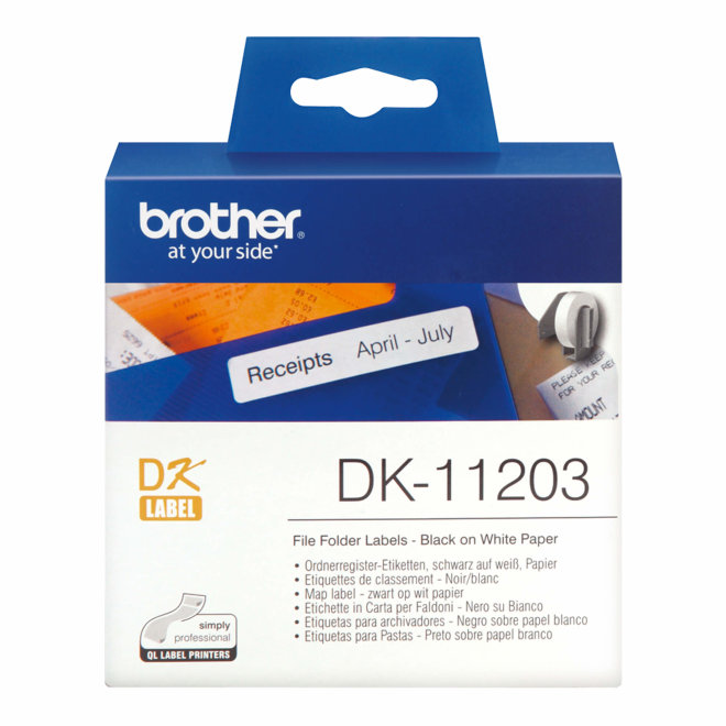 Brother naljepnice DK-11203, bijela rola s crnim ispisom, 17 mm x 87 mm, 300 naljepnica, Original [DK11203]