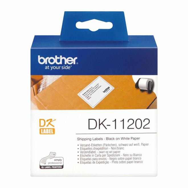 Brother naljepnice DK-11202, rezane utovar naljepnice, bijela rola s crnim ispisom, 62 mm x 100 mm, 300 naljepnica, Original [DK11202]
