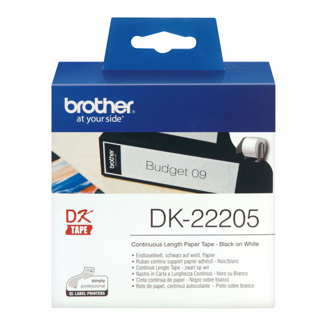 Brother naljepnice DK-22205, bijela rola s crnim ispisom, širina 62 mm, dužina 30,48 m, Original [DK22205]