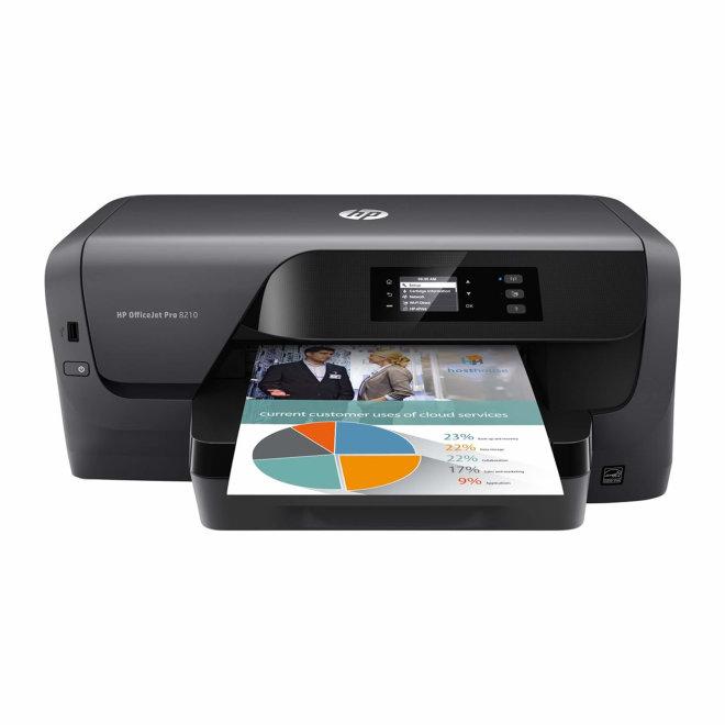 HP OfficeJet Pro 8210, jednofunkcijski pisač, tintni ispis u boji, A4, WiFi, Ethernet, USB, Touchscreen, Dupleks, 60 – 300 g/m² [D9L63A#A81]