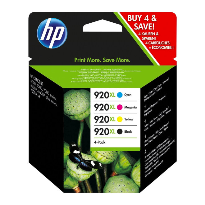 HP 920XL 4-pack High Yield Black/Cyan/Magenta/Yellow Original Ink Cartridges [C2N92AE]