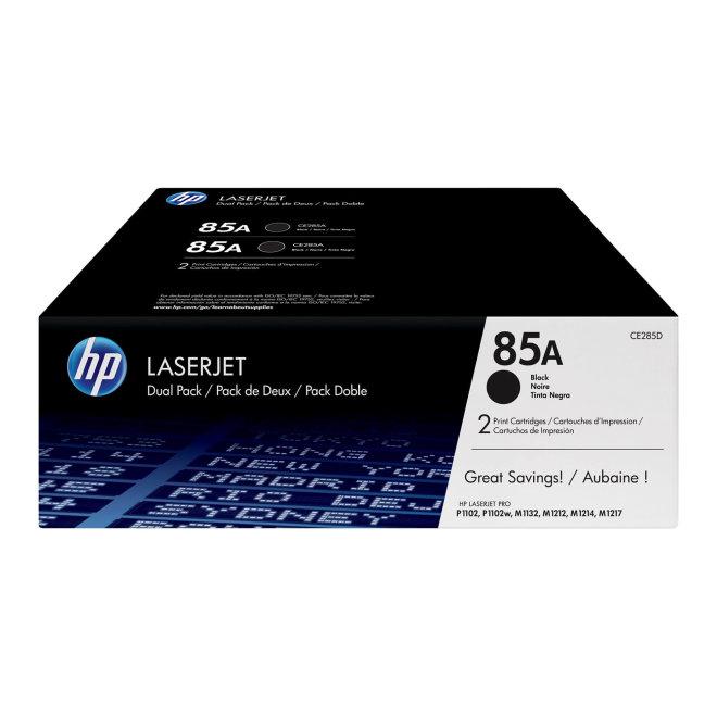 HP 85A 2-pack Black Original LaserJet Toner Cartridges [CE285AD]