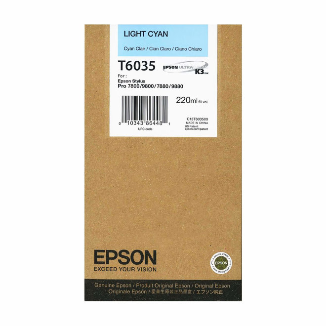 Epson tinta Light Cyan T603500, 220 ml, Original [C13T603500]