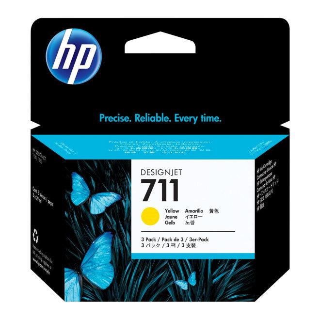 HP 711 3-pack 29-ml Yellow DesignJet Original Ink Cartridges [CZ136A]