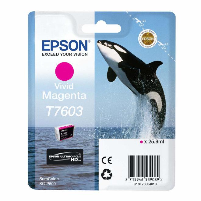 Epson tinta T7603 Vivid Magenta, 25,9 ml, Original [C13T76034010]