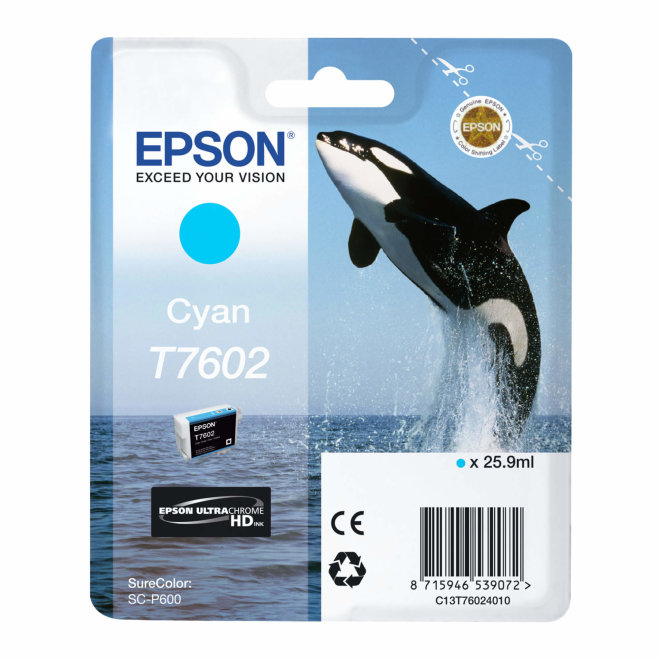 Epson tinta T7602 Cyan, 25,9 ml, Original [C13T76024010]