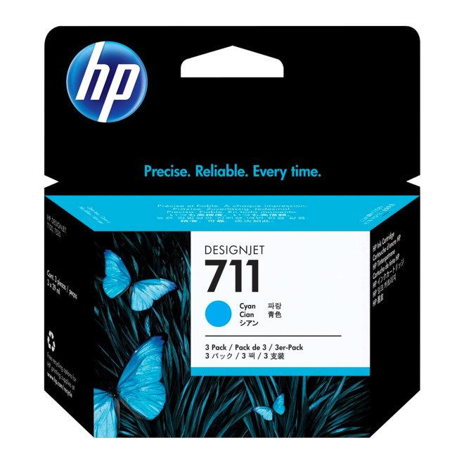 HP 711 3-pack 29-ml Cyan DesignJet Original Ink Cartridges [CZ134A]