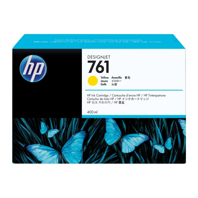 HP 761 400-ml Yellow DesignJet Ink Cartridge, Original [CM992A]