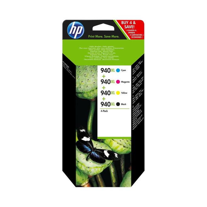 HP 940XL 4-pack High Yield Black/Cyan/Magenta/Yellow Ink Cartridges, cca 2.200 BK, 1.400 C/M/Y ispisa, Original [C2N93AE]