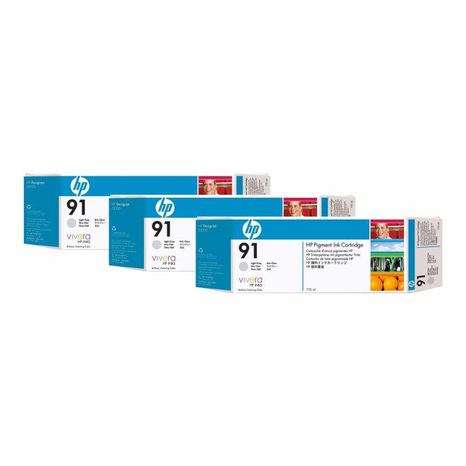 HP 91 3-pack 775-ml Light Gray DesignJet Pigment Original Ink Cartridges [C9482A]