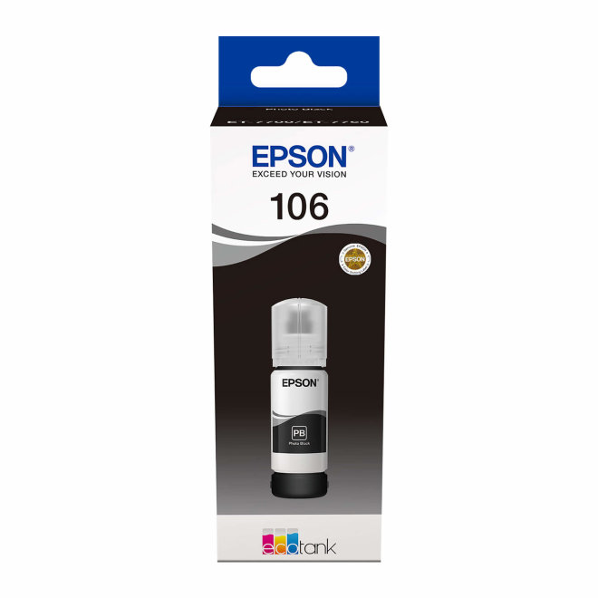 Epson 106 EcoTank Photo Black ink bottle, tinta u boci, za L7180 / L7160, Original [C13T00R140]