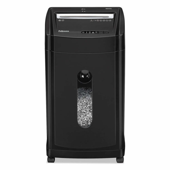Fellowes Powershred® 46Ms Micro-Cut Shredder, uništavač papira, razina sigurnosti P-5, do 12 listova A4, rez 2x14 mm, kapacitet 30 l [3147121]