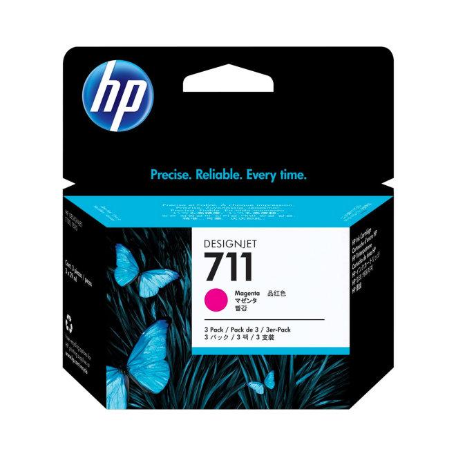 HP 711 3-pack 29-ml Magenta DesignJet Ink Cartridges, Original [CZ135A]