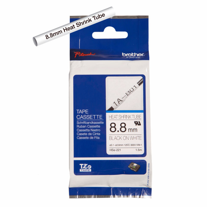 Brother kazeta HSe-221, bijela traka/cijev s crnim ispisom, termoskupljajuća, širina 8,8 mm, Original [HSE221]