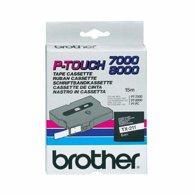 BrothBrother kazeta TX-211, bijela traka s crnim ispisom, širina 6 mm, Original [TX211]er kazeta TX-211, traka za označavanje, širina 6 mm, Original [TX211]