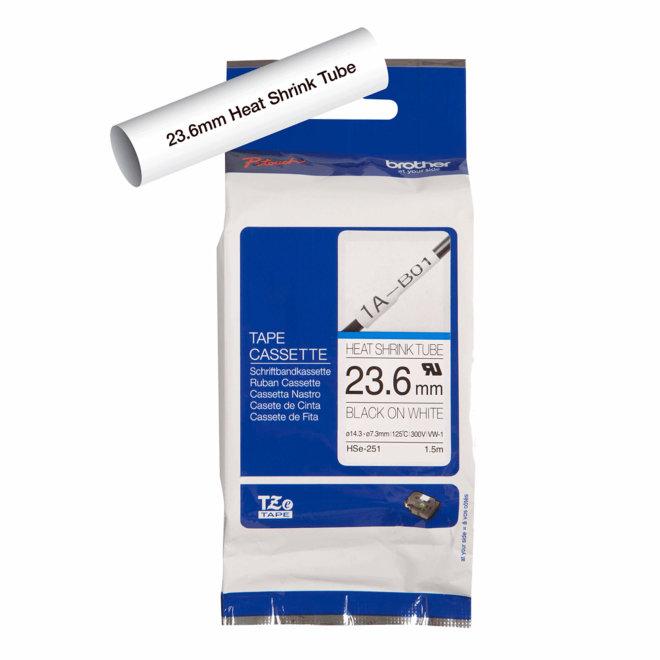 Brother kazeta HSe-251, bijela traka/cijev s crnim ispisom, termoskupljajuća, širina 23,6 mm, Original [HSE251]