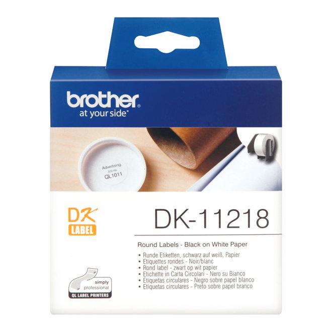 Brother rola DK-11218, bijela rola s crnim ispisom, promjer 24 mm, 1000 naljepnica, Original [DK11218]