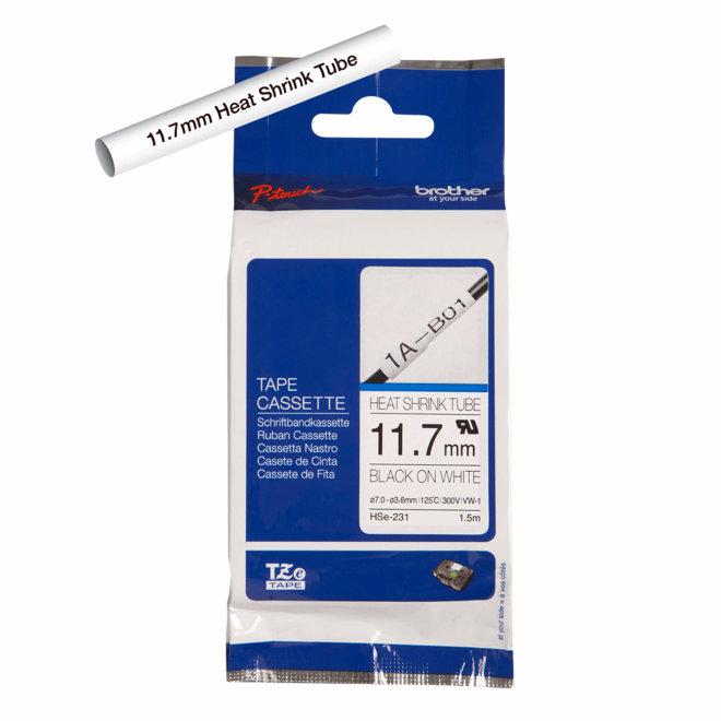 Brother kazeta HSe-231, bijela traka/cijev s crnim ispisom, termoskupljajuća, širina 11,7 mm, Original [HSE231]
