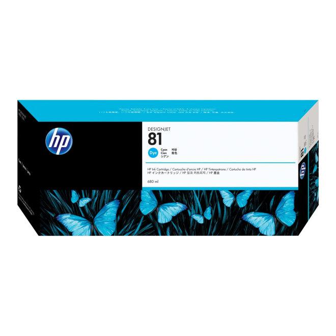 HP 81 680-ml Cyan Dye Ink Cartridge, tinta, Original [C4931A]
