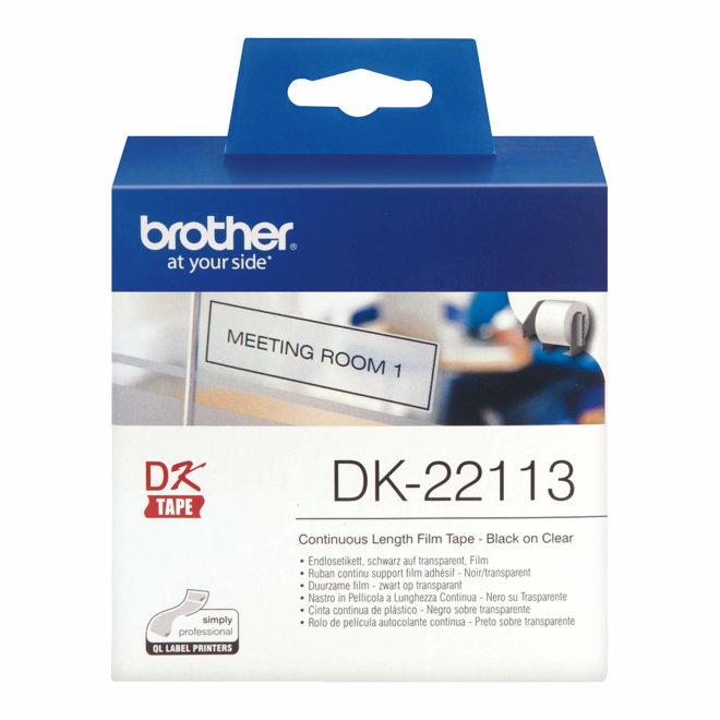 Brother rola DK-22113, prozirna rola s crnim ispisom, širina 62 mm, dužina 15,24 m, Original [DK22113]