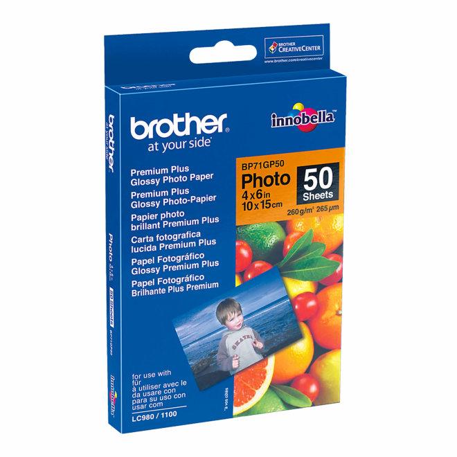 Brother BP71GP50, 10 cm x 15 cm sjajni foto papir, 50 listova, Original [BP71GP50]
