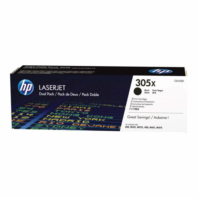 HP 305X 2-pack High Yield Black LaserJet Toner Cartridges, cca 4.000 ispisa/kazeti, Original [CE410XD]