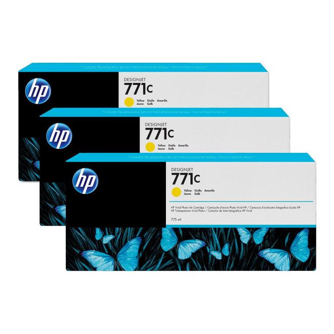 HP 771C 3-pack 775-ml Yellow DesignJet Ink Cartridges, tinta, Original [B6Y34A]