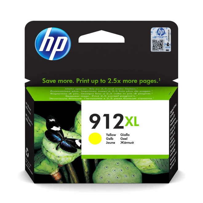HP 912XL High Yield Yellow Ink Cartridge, tinta, 825 ispisa, Original [3YL83AE#BGX]