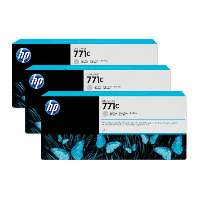 HP 771C 3-pack 775-ml Light Gray DesignJet Ink Cartridges, tinta, Original [B6Y38A]
