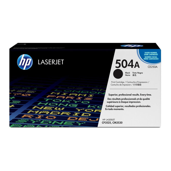 HP 504A Black LaserJet Toner Cartridge, kazeta, cca 5.000 ispisa, Original [CE250A]