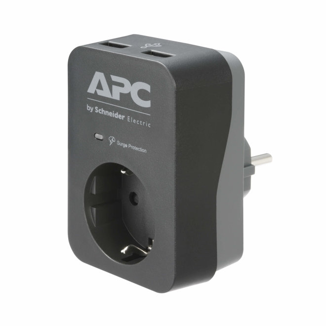 APC Essential SurgeArrest, prenaponska zaštita, 1 x Schuko utičnica, 2 x USB port, 230V, 16A, Black [PME1WU2B-GR]