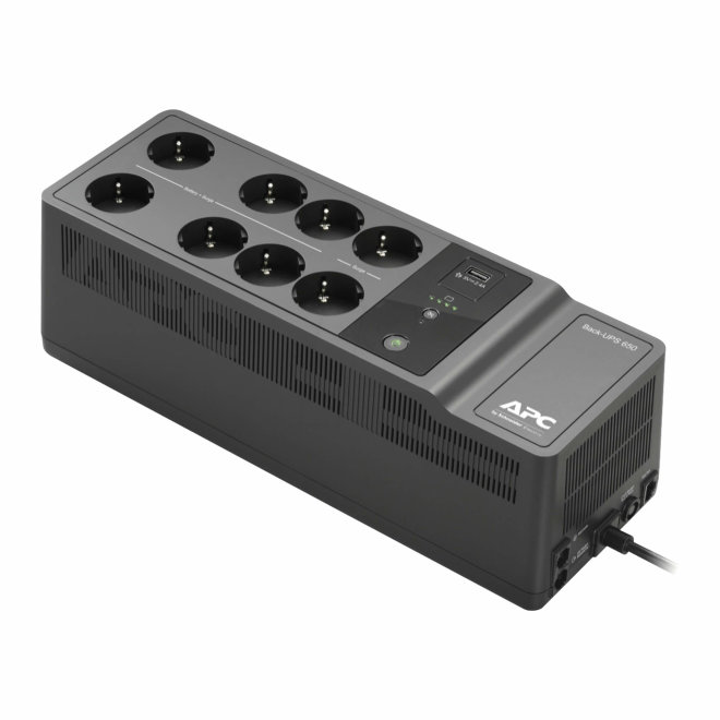 APC Back-UPS 650VA, UPS besprekidno napajanje, AC 230 V, 400 Watta, 650 VA, 1 USB charging port, 8 utičnica, Black [BE650G2-GR]