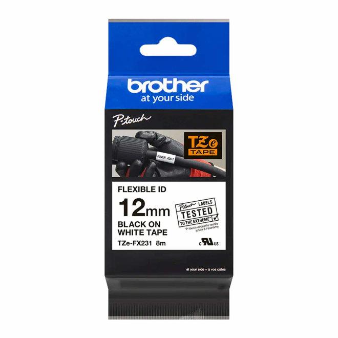 Brother TZe-FX231, fleksibilna ID traka, bijela traka s crnim ispisom, širina 12 mm, Original [TZEFX231]