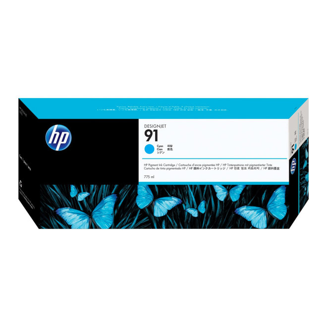 HP 91 Cyan DesignJet Pigment Ink Cartridge, tinta, 775 ml, Original [C9467A]