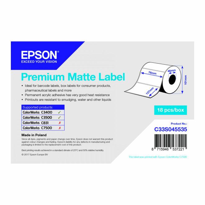 Epson Premium Matte Label, 76 mm x 51 mm, 650 etiketa, Original [C33S045534]