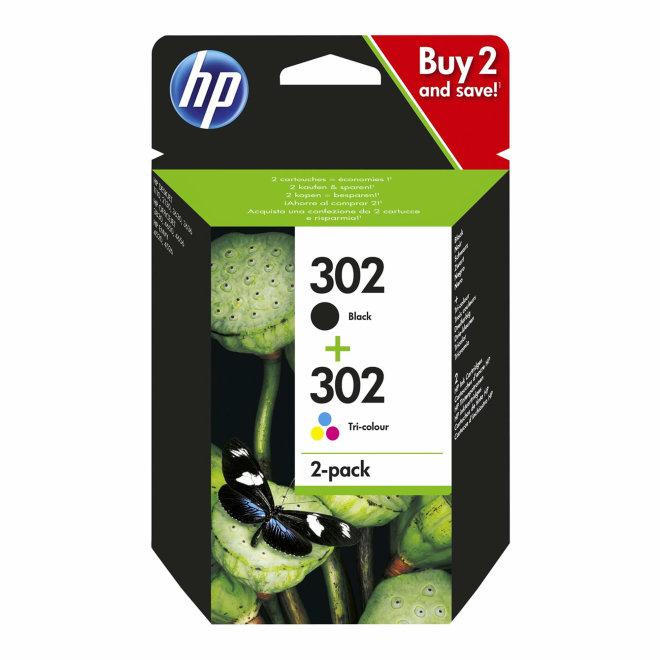 HP 302 2-pack Black/Tri-color Original Ink Cartridges, tinta, cca 190 ispisa/crna, cca 165 ispisa tri-colour, Original [X4D37AE]