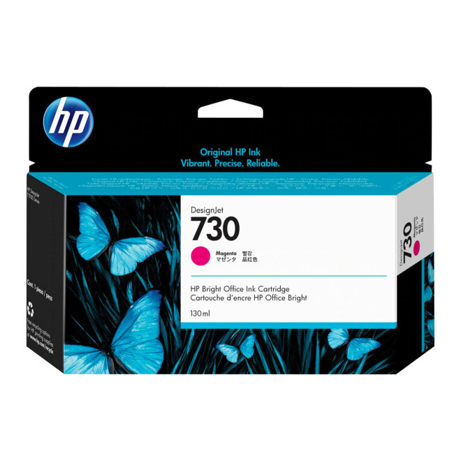 HP 730 Magenta Ink Cartridge, tinta, 130 ml, Original [P2V63A]