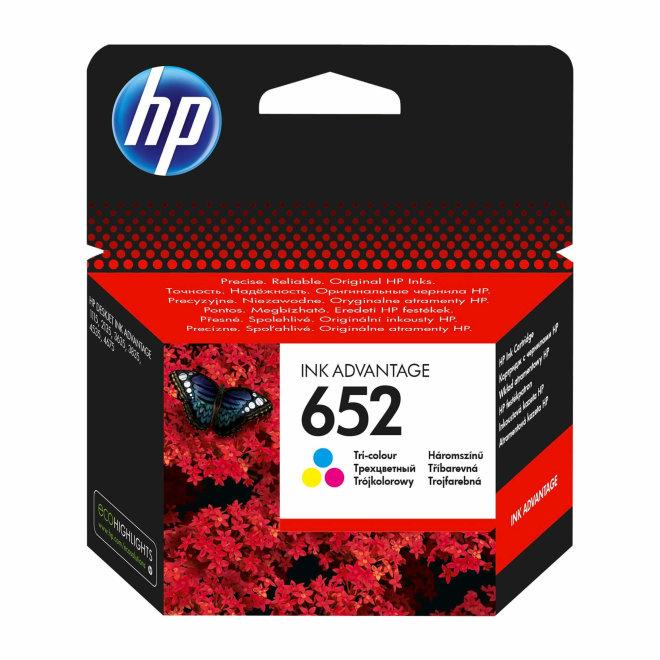 HP 652 Tri-color Ink Advantage Cartridge, tinta, cca 200 ispisa, Original [F6V24AE]