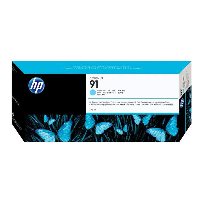 HP 91 775-ml Light Cyan DesignJet Pigment Ink Cartridge, tinta, Original [C9470A]