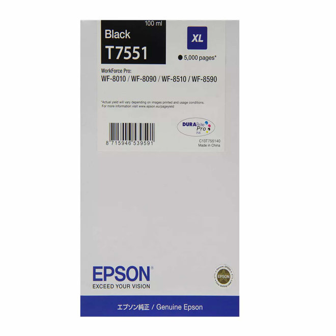 Epson Ink Cartridge XL Black, tinta, cca 5.000 ispisa, Original [C13T755140]