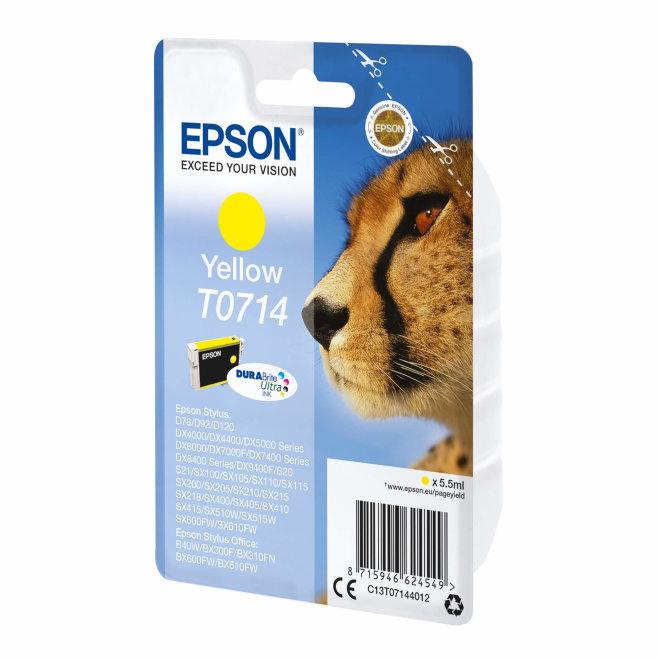 Epson tinta Yellow T0714 DURABrite Ultra Ink, Original [C13T07144022]