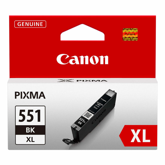 Canon CLI-551XL High Yield Black Ink Cartridge, tinta, cca 1.125 fotografija, Original [6443B001AA]
