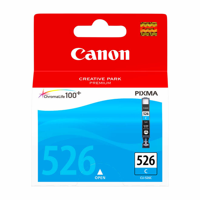 Canon CLI-526C Cyan Ink Cartridge, tinta, ChromaLife100+ system, cca 207 fotografija, Original [4541B001AA]
