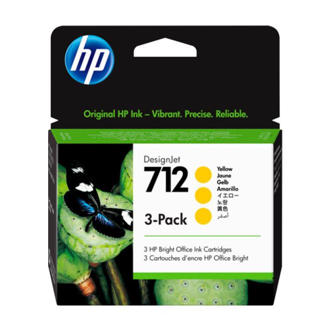 HP 712 3-Pack 29-ml Yellow DesignJet Ink Cartridge, tinta, Original [3ED79A]