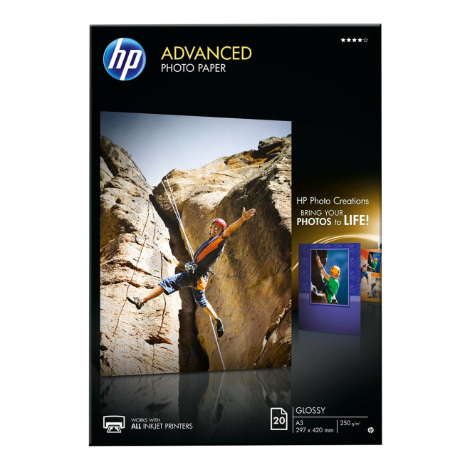HP Advanced Glossy Photo Papir, A3 format (297 x 420 mm), 20 listova, Original [Q8697A]